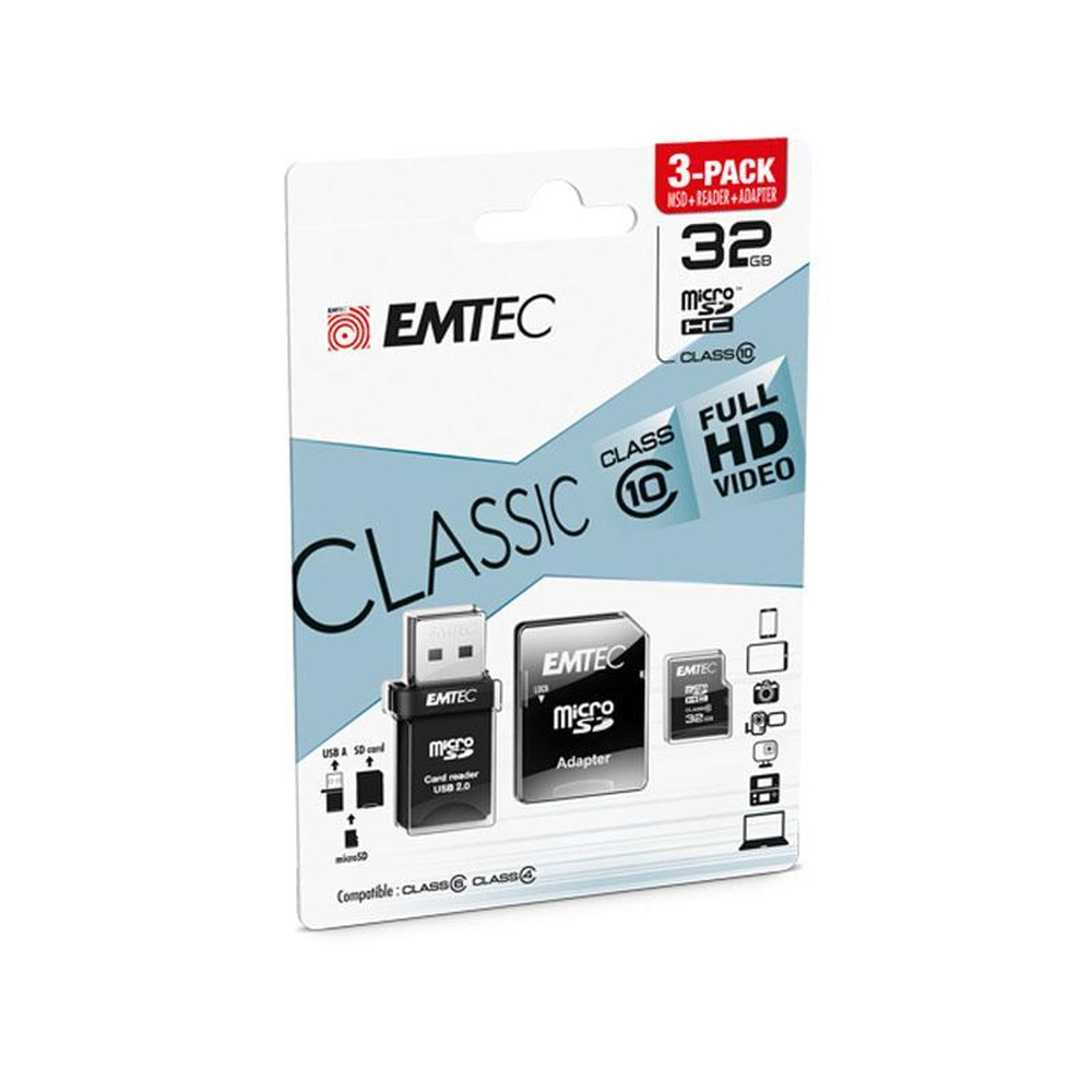 MicroSDHC 32GB EMTEC 3in1 SD/USB Adapter CL10 CLASSIC Blister