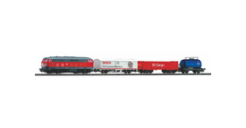 Piko 57154 Start-Set mit Bettung BR 218 DB Cargo mit 3 Güterwagen
